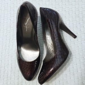 Jessica Simpson Brown Patent Crocodile Skin Heels